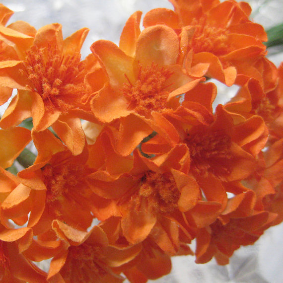 Mariage - 20 Handmade Paper Millinery Small Zinnia Flowers In Orange