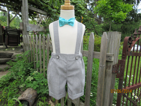زفاف - Boys gray shorts, boys suspender shorts with cuffs, ring bearer shorts,available to order 12m,18m 2t, 3t 4t, 5t
