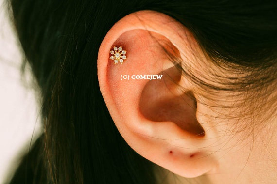Mini Flower Cz Tragus Earring Bridesmaid Gift Single Cartilage Back Upper Ear Helix Gja033