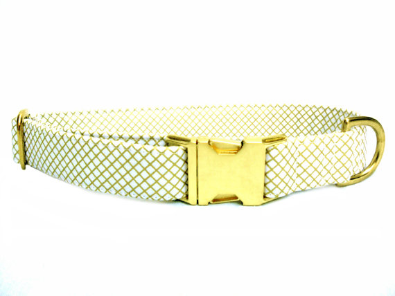 Свадьба - Dog Collar , IVORY METALLIC Gold, Handmade