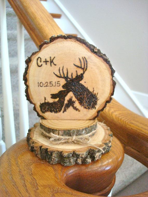 Rustic Deer Wedding Cake Topper Personalized Wood Burned Romantic ...