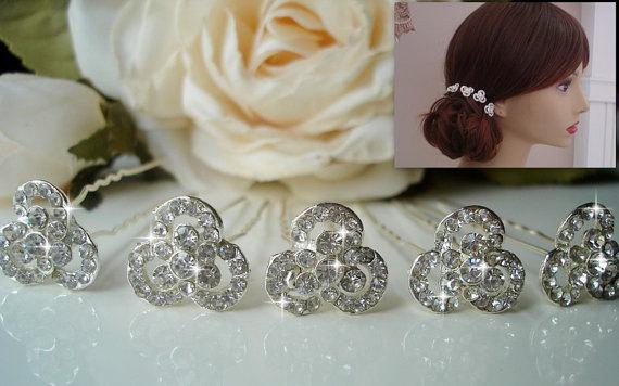 Свадьба - Set of 5 Rhinestone Hair Pins, Rhinestone  Bobby Pins, Bridal Hair Pins, Wedding Hair Pins