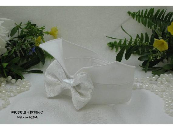 Свадьба - White Satin Brocade Bow Wingtip Tuxedo Dog Collar~Dog Ring Bearer~Dog Tuxedo~Dog Wedding Attire~Dog Bow Tie~Formal~Free Shipping Within USA~