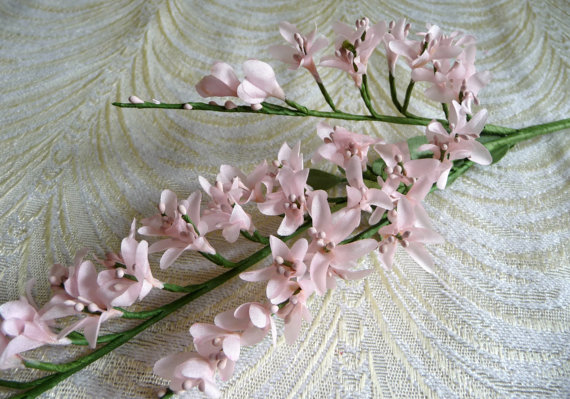 Pale pink blush apricot blossom spray small twig silk flower twig pale pink blush apricot blossom spray small twig silk flower twig branch nos millinery for wedding hair crowns bridal bouquets floral crafts mightylinksfo