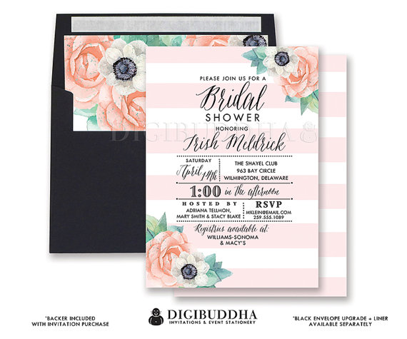 pink stripe floral bridal shower invitation boho blush watercolor anemone flowers whimsical wedding free shipping or diy printable trish