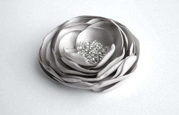 Wedding - Grey Flower Hair Clip, Silver Flower Hair Accessory, Gray Wedding Hair Accessory, Flower Hair Piece, Bridal, Bridesmaid, Flower Girl Clip