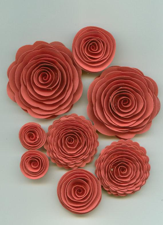 Pink coral rose spiral paper flowers for weddings bouquets events pink coral rose spiral paper flowers for weddings bouquets events and crafts mightylinksfo
