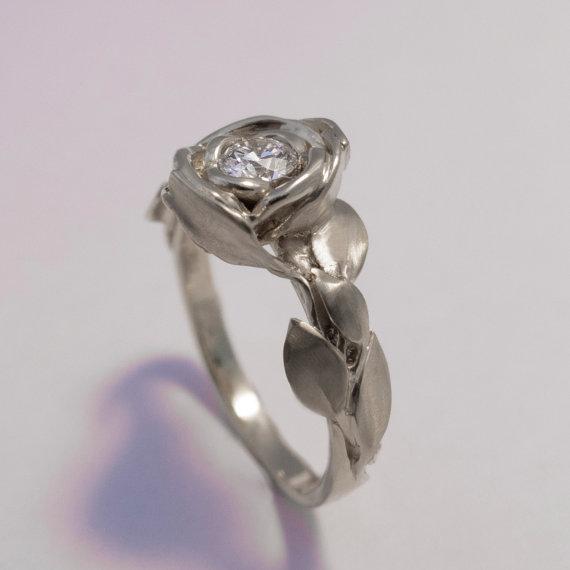 rose engagement ring no1 platinum and diamond engagement ring engagement ring platinum leaf ring flower ring art nouveau vintage - Rose Wedding Ring