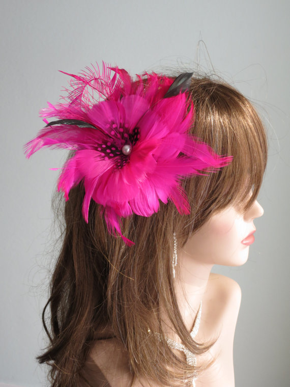 7704356c13b4 Hot Pink Bridal Feather Hair Piece Kentucky Derby Wedding Accessory Feathers
