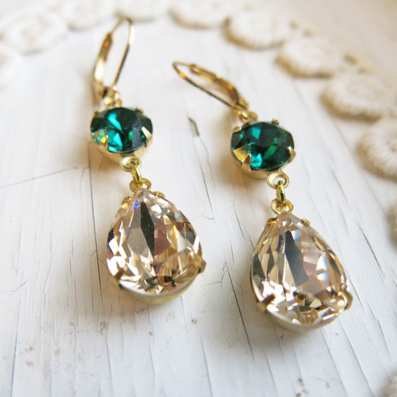 Emerald Earrings Vintage Champagne Gold Estate Style Green Bridal Jewelry Wedding Bridesmaid Gift