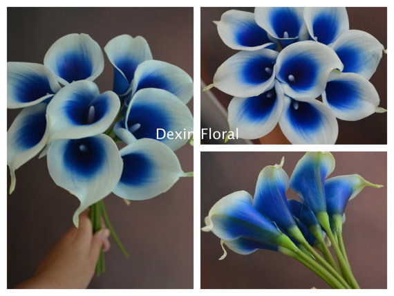 Mariage - 9pcs ~ 36pcs Natural Real Touch Royal Blue Picasso Calla Lily Stems for Wedding Bridal Bouquets, Centerpieces, Decorations