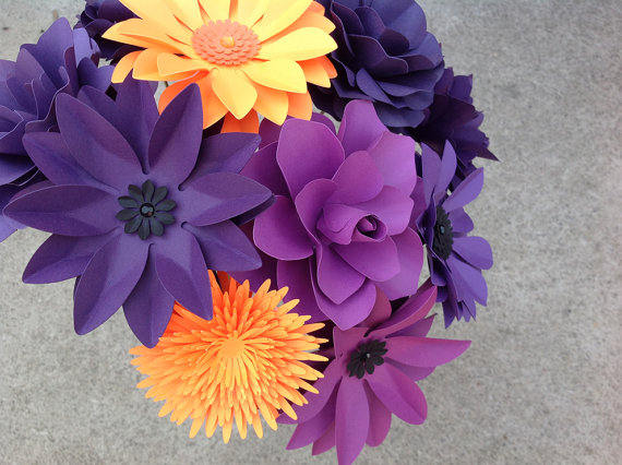 Mariage - Paper flower set of 12 stems in purple and orange mix of different flowers