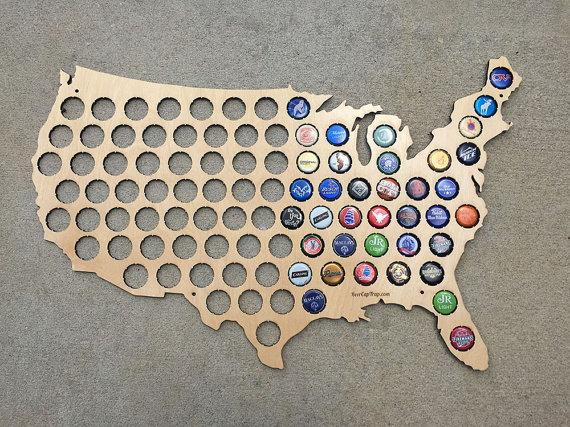 Beer Cap Map Of USA Made From Birch Wood Craft Beer Cap - Us beer cap map