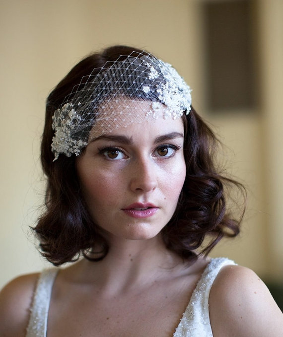 Mariage - Wedding Head Piece with Lace and Crystal Rhinestones silk tulle and french net, white,ivory or champagne,Agnes hart