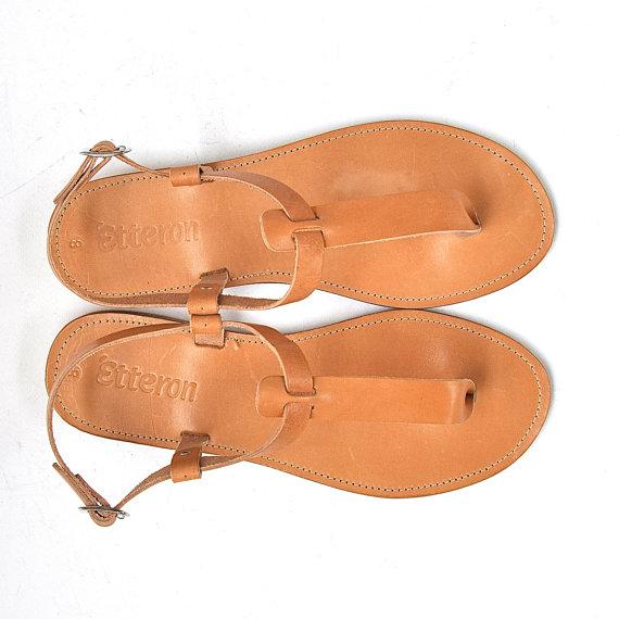 Wedding - Leather Sandals / Greek Handmade / T-strap women sandal / NEW slim rubber soles