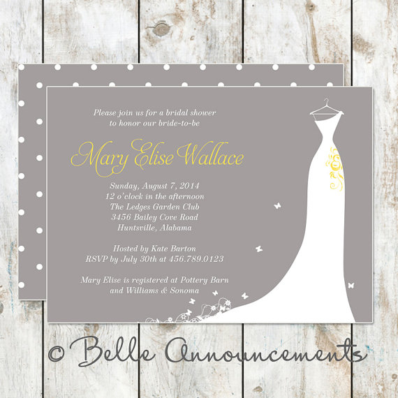Modern Grey And Yellow Bridal Shower Invitation 2323442 Weddbook