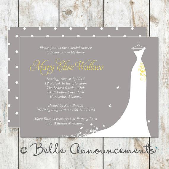 Mariage - Modern Grey and Yellow Bridal Shower Invitation