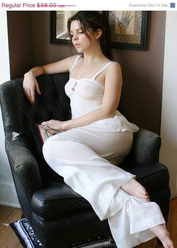 Свадьба - SALE silk pajama pants in sheer stretch georgette - BLOSSOM - made to order