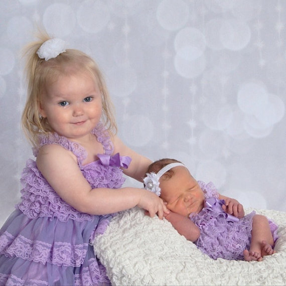 Mariage - Matching Sisters Dress and Romper- Elegant Vintage Lilac Lace Dress & Romper Baby-Toddler-Photograpy prop-Flower girl dress
