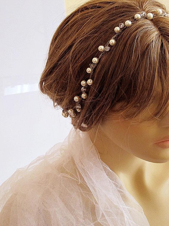 Wedding - Wire crochet Bridal headband, Wedding Headband, Bridal Hair Accessory, Wedding Accessory, pearl and crystal, weddings