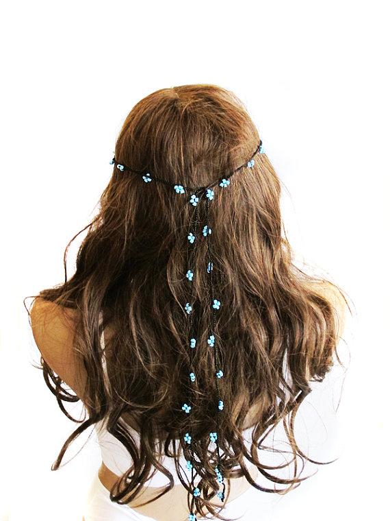 Mariage - crochet Headpiece Headband Hair Piece blue beaded Wedding Bridal Accessories Boho Headband Bohemian Women Bridesmaids girls summer hippie