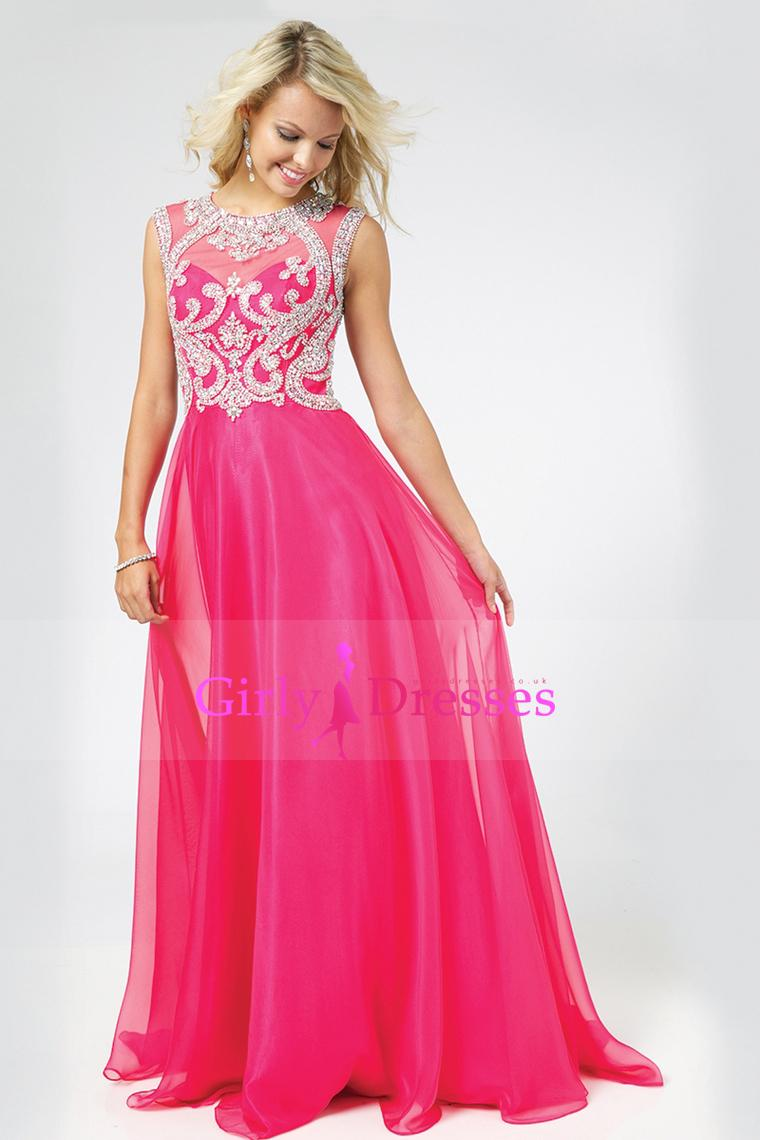 Wedding - 2015-Scoop-A-Line-Chiffon-Tulle-Floor-Length-Prom-Dresses-With-Beads