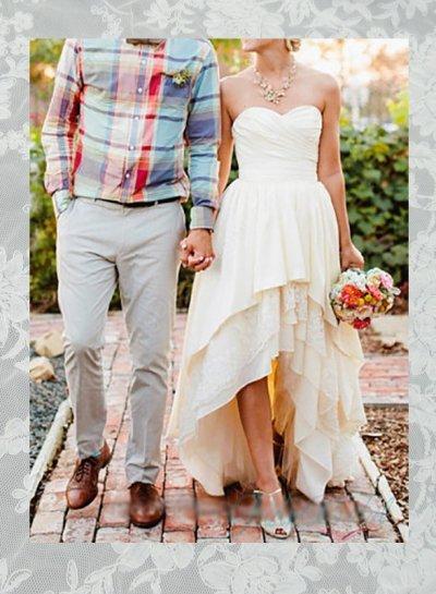 Свадьба - JOL285 vintage high low hem sweetheart neck wedding dress