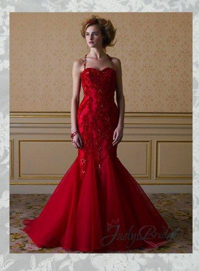JOL283 Burgundy Red Color Sweetheart Neck Lace Mermaid Wedding Dress ... d76d896df947