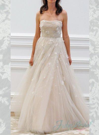 Wedding - JW16050 Fairy bling bloom strapless tulle princess wedding dress 2016