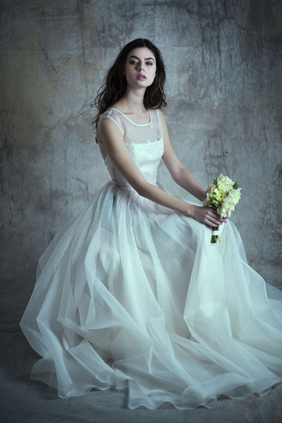 Hochzeit - Watercolor Organza Illusion Top Gown - Margeaux