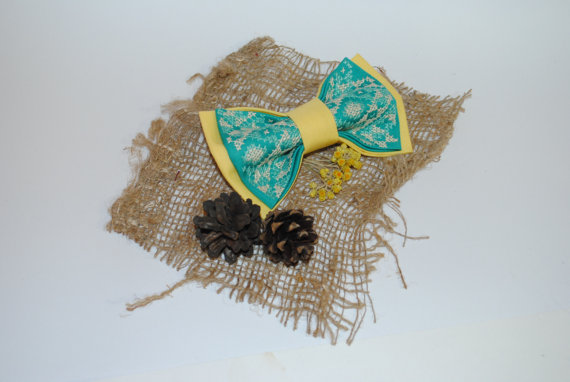 Wedding - Embroidered turquoise pale yellow unisex bowtie Groomsman bowtie Gift for him Embroidered bowtie Gift for brother Men's bowtie