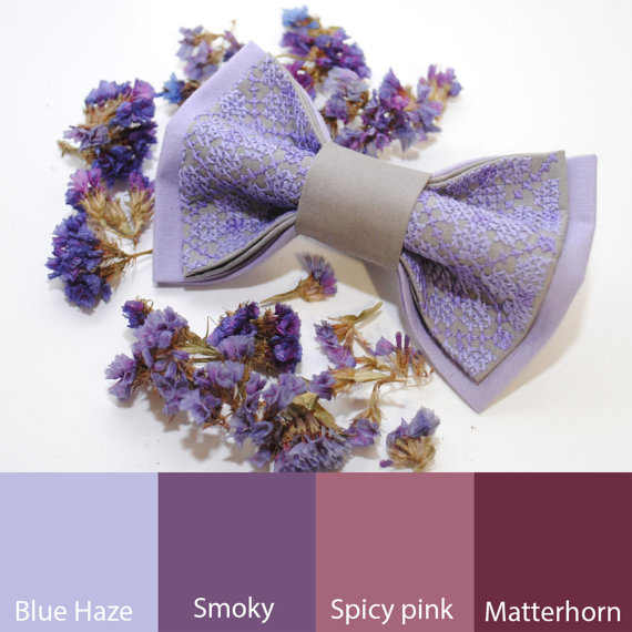 Wedding - EMBROIDERED bow tie LILAC grey pretied bowtie Lavender wedding Groom's bowtie Great to use with Blue Haze, Smoky, Spicy pink and Matterhorn