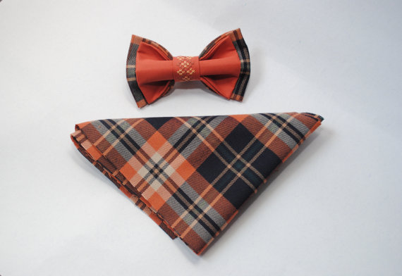 Wedding - Embroidered plaid bow tieBrown pretied bow tie Groomsmen bow ties Men's bowtie Gifts for dad Casual style Gift ideas him her Men's accessory