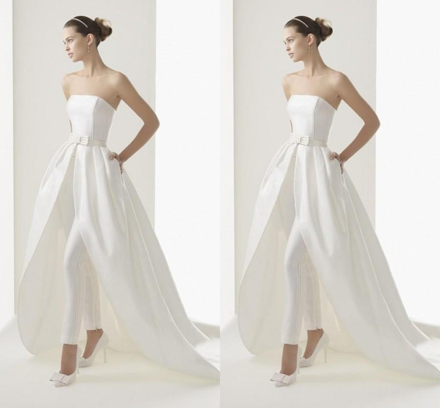 2015 newest style high low wedding dresses with trousers for Wedding dress high low