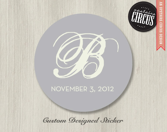 Custom Wedding Stickers Modern Monogram Labels