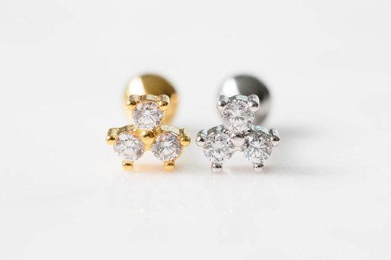 Hochzeit - 3 mini cubic round cz tragus earring,Helix piercing,Helix Earring,Cartilage Piercing,tragus jewelry,upper ear piercing,bridal gift,Sil014