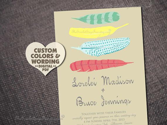 زفاف - PRINTABLE Wedding Invitation FEATHERS Modern Diy Decor Custom Design Suite Engagement Party Birthday Bridal Shower Pdf Digital File Program