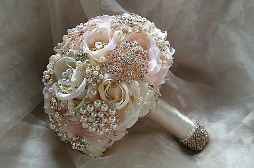 Hochzeit - ROSE GOLD Brooch Bouquet- Deposit for Custom Bouquet for Julie, total 450