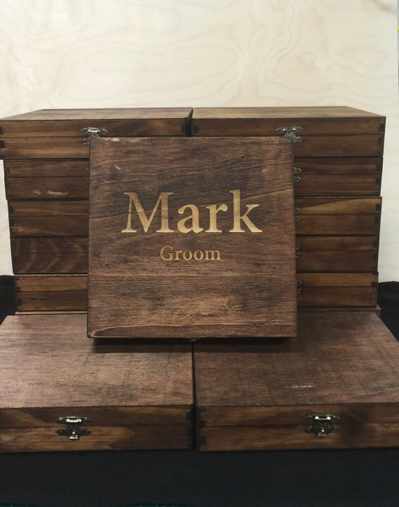 Custom Cigar Box Groomsmen Best Man Personalized Gift Natural Wood
