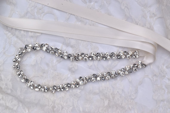 Свадьба - Thin Crystal Rhinestone Belt-  Clear and Gray Rhinestones- Silver Setting - EYM B001