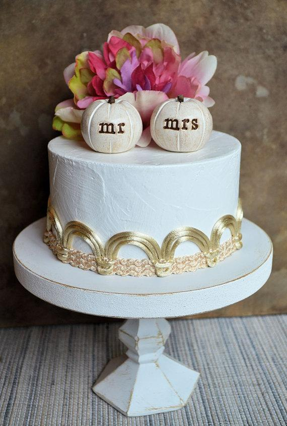 Wedding Cake Toppermr Mrs Pumpkinsfall And Autumn Decor Ready To Ship