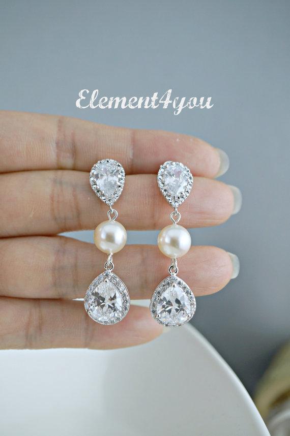 Hochzeit - Post Bridal earrings wedding jewelry clear teardrop cubic zirconia round cz Swarovski cream ivory white pearls Silver Post Studs dangle
