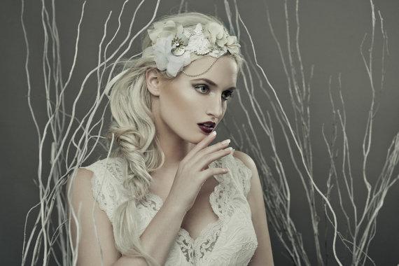 Mariage - Crystal lace headpiece - lace bridal headpiece - lace floral headpiece - crystal wedding headpiece - wedding accessory