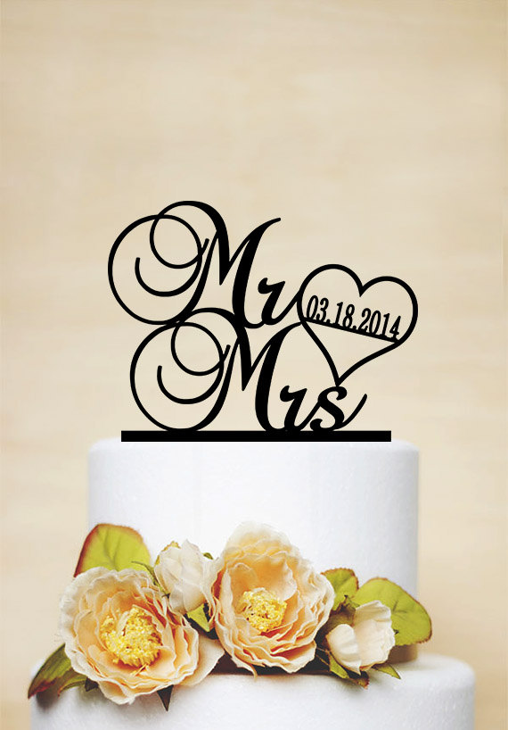 Mr Mrs Cake Topper With Date Wedding Heart Acrylic 038