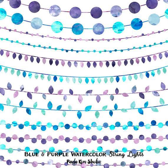 زفاف - 80% OFF SALE Watercolor Clipart String Lights, Wedding Invitation Clip Art, Blue and Purple, Digital Instant Download, Commercial Use