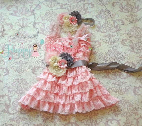 Свадьба - Flower Girl Dress- Ivory PInk Grey Petti Lace Dress set, ruffle dress, girls dress, Birthday dress,baby girl dress,Pink dress,Princess dress