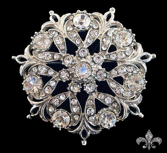 Hochzeit - Rhinestone Brooch Pin - Rhinestone Crystal Brooch - Rhinestone Brooch - Old World Brooch