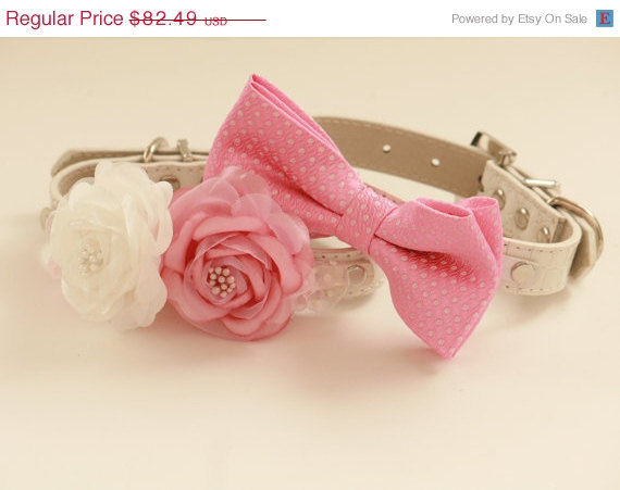 Свадьба - Pink wedding Dog Collars, Two dog collars, Floral collar and pink bow tie, wedding accessory, High Quality