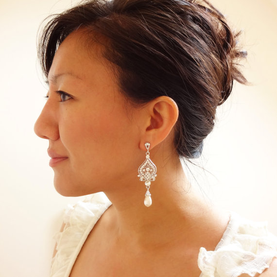Hochzeit - Wedding Earrings, White Ivory Pearl Wedding Jewelry, Rhinestone Chandelier Bridal Earrings, Hollywood Glamour Bridal Jewelry, JACQUELINE
