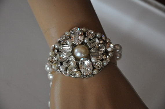Hochzeit - Wedding Bracelet,Bridal Bracelet,Swarovski Crystal and Pearl Bracelet,Gatsby Jewelry,Art Deco Style,Vintage Inspired Bracelet,BAMBI